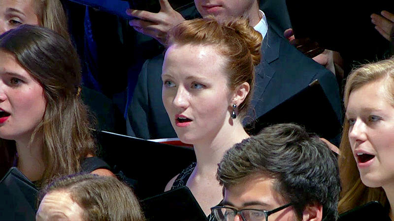 Georgetown students give their free Millennium Stage performance at the Kennedy Center hours after the pope delivered an historic U.S. Mass.