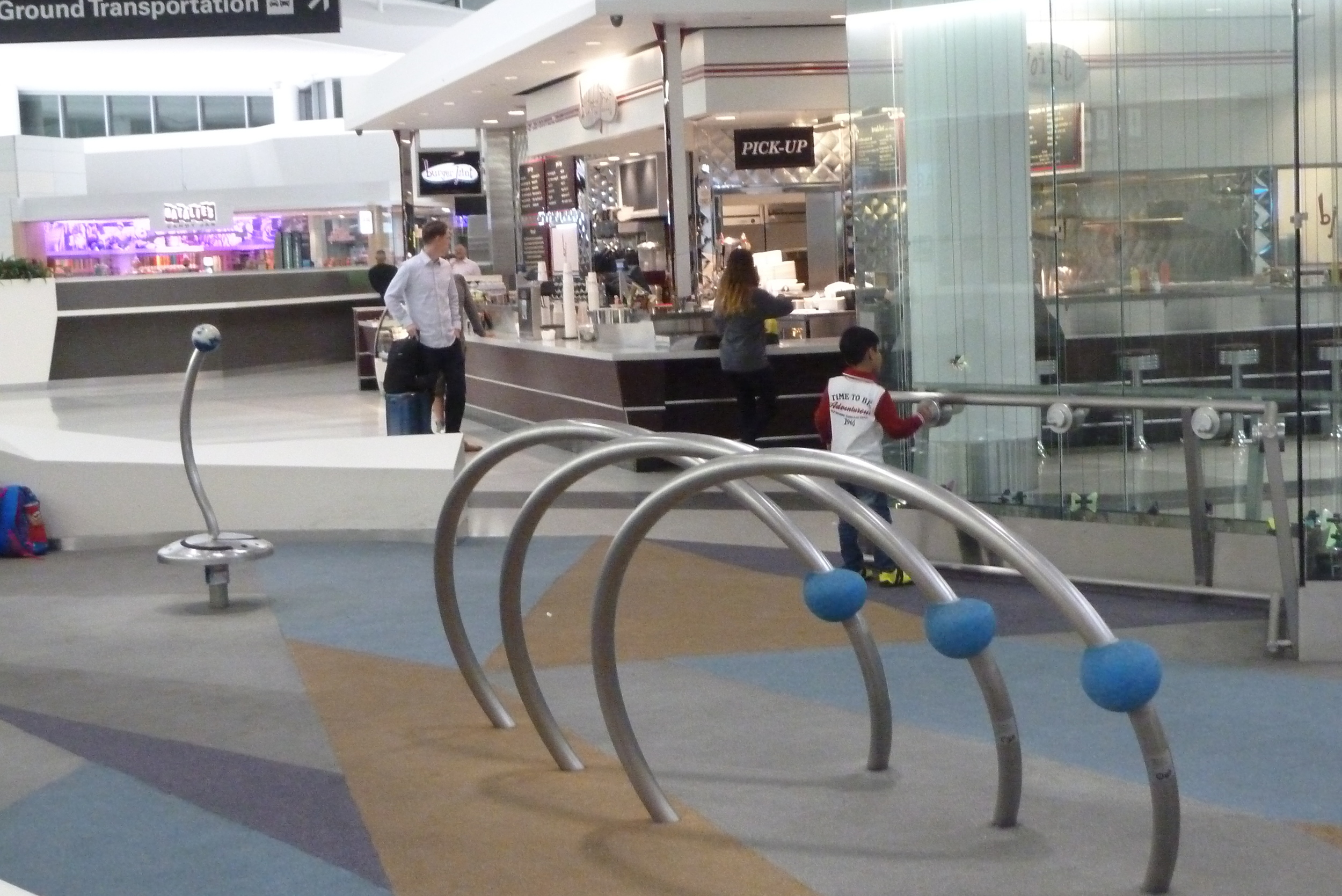 Play areas at SFO help kids work off energy before boarding.