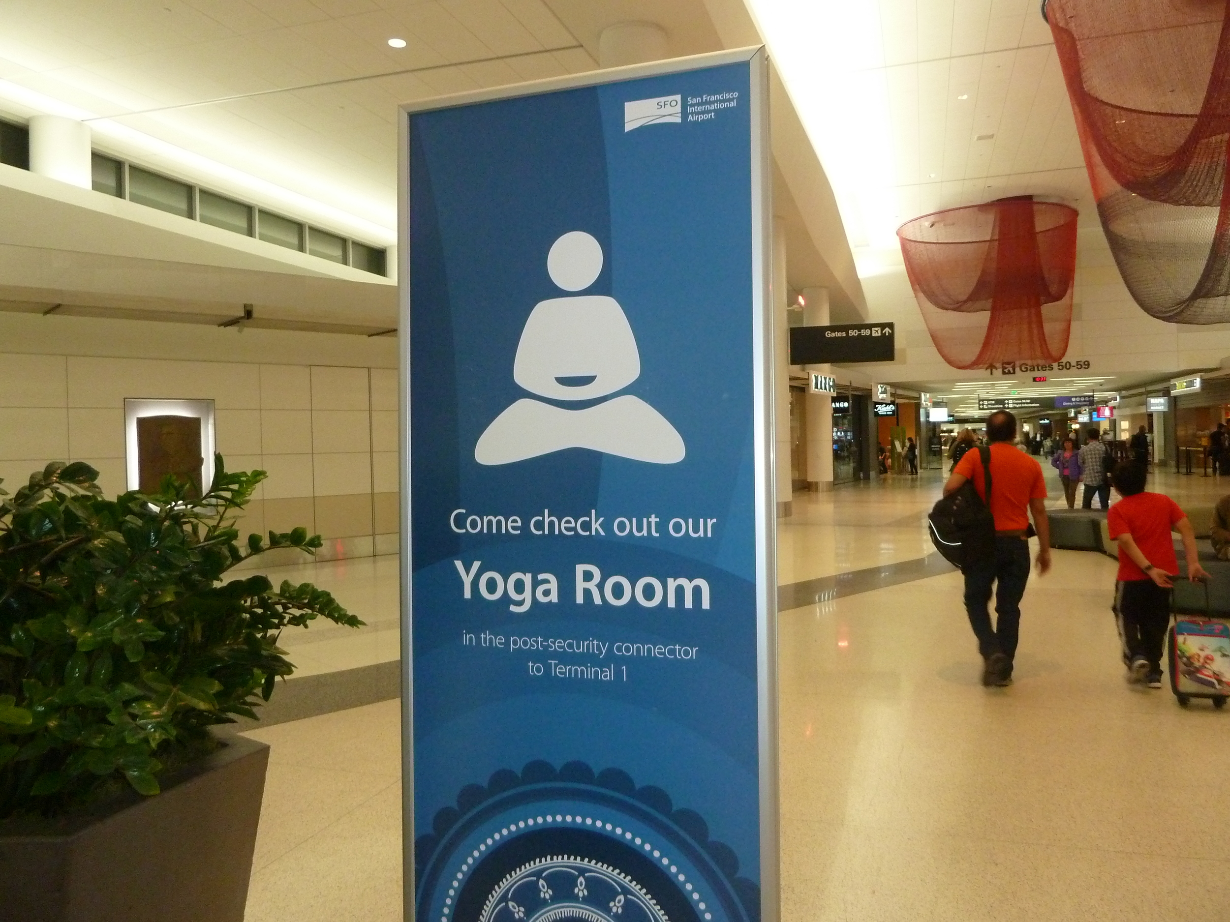 SFO offers quiet yoga rooms, complete with mats and blocks, to help work out your kinks before or after your flight.