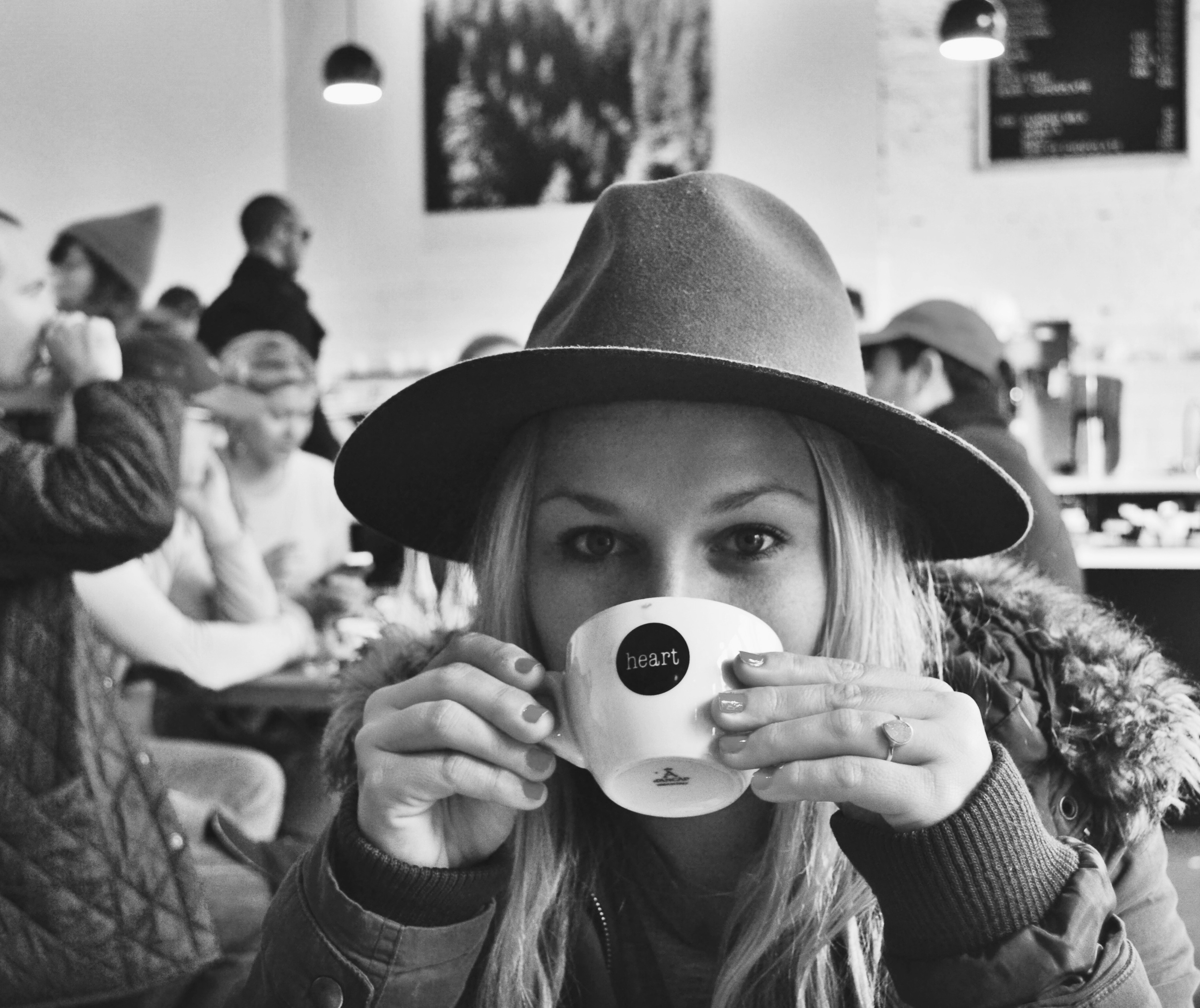 Katie Loughridge, 21, sips her cappuccino at Heart Cafe.