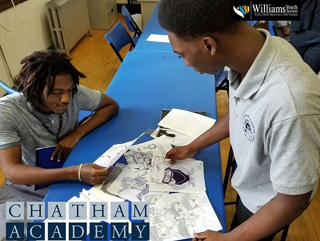 Henry urges Eric to continue creating beautiful works of art. #friends encourage #positive behaviors.  #Chicago - We are the #cahstitans of #chathamacademy #highschool by #nonprofit #williamsyouthservices #blackowned #alternative #charter #school #second #chance  #education #18credits #young #urban #teen #student #city #kids #graduation #southside #westside #eastside #community #yccs