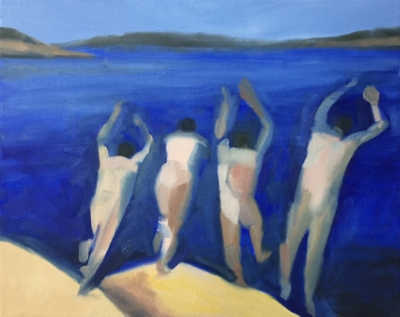 4 Swimmers (11), 2015. 16x20 inches, oil on canvas. (sold)