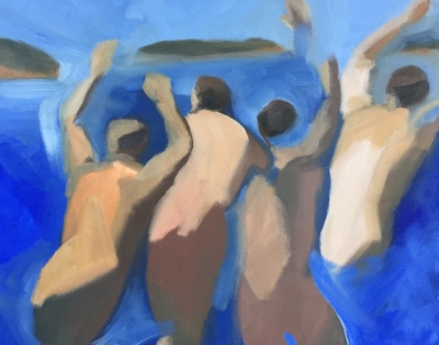 4 Swimmers (9), 2015. 16x20 inches, oil on canvas  (sold)