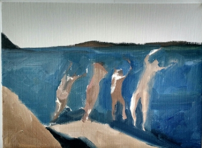4 Swimmers (1), 2015. 9x12 inches, oil on canvas.
