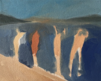4 Swimmers (6), 2015. 8x10 inches, oil on canvas.