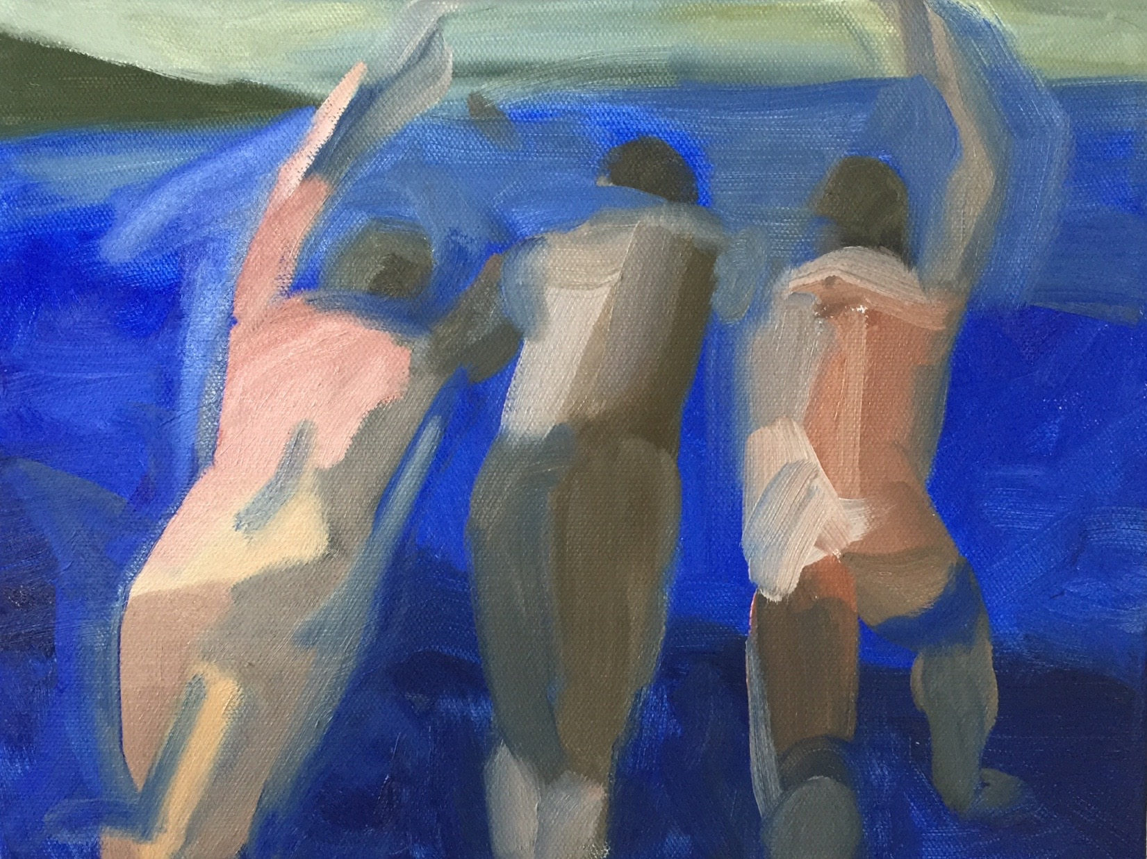 3 Swimmers (2), 2015. 9x12 inches, oil on canvas