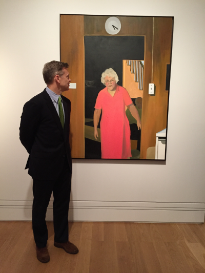 "My husband Bartley with ""Nana"" (60x48 inches, oil on canvas) at the National Portrait Gallery, London."