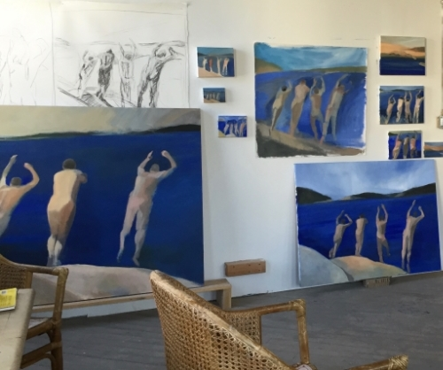 Studio wall full of Swimmers drawings and paintings in the works