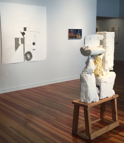 """I See You"" (sculpture) and ""Up and Over"" (big drawing on wall) on display at Chautauqua Institute's 59th Annual Exhibition of Contemporary Art summer 2016"