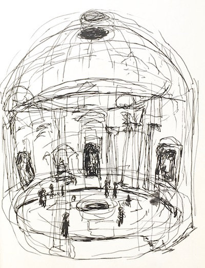 Pen sketch of the inside of the Pantheon from my sketchbook