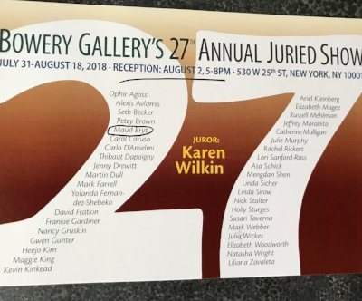 Bowery Gallery Juried Exhibit Opening August 2, 5-8pm 530 W 25th Street, 4th floor, NYC
