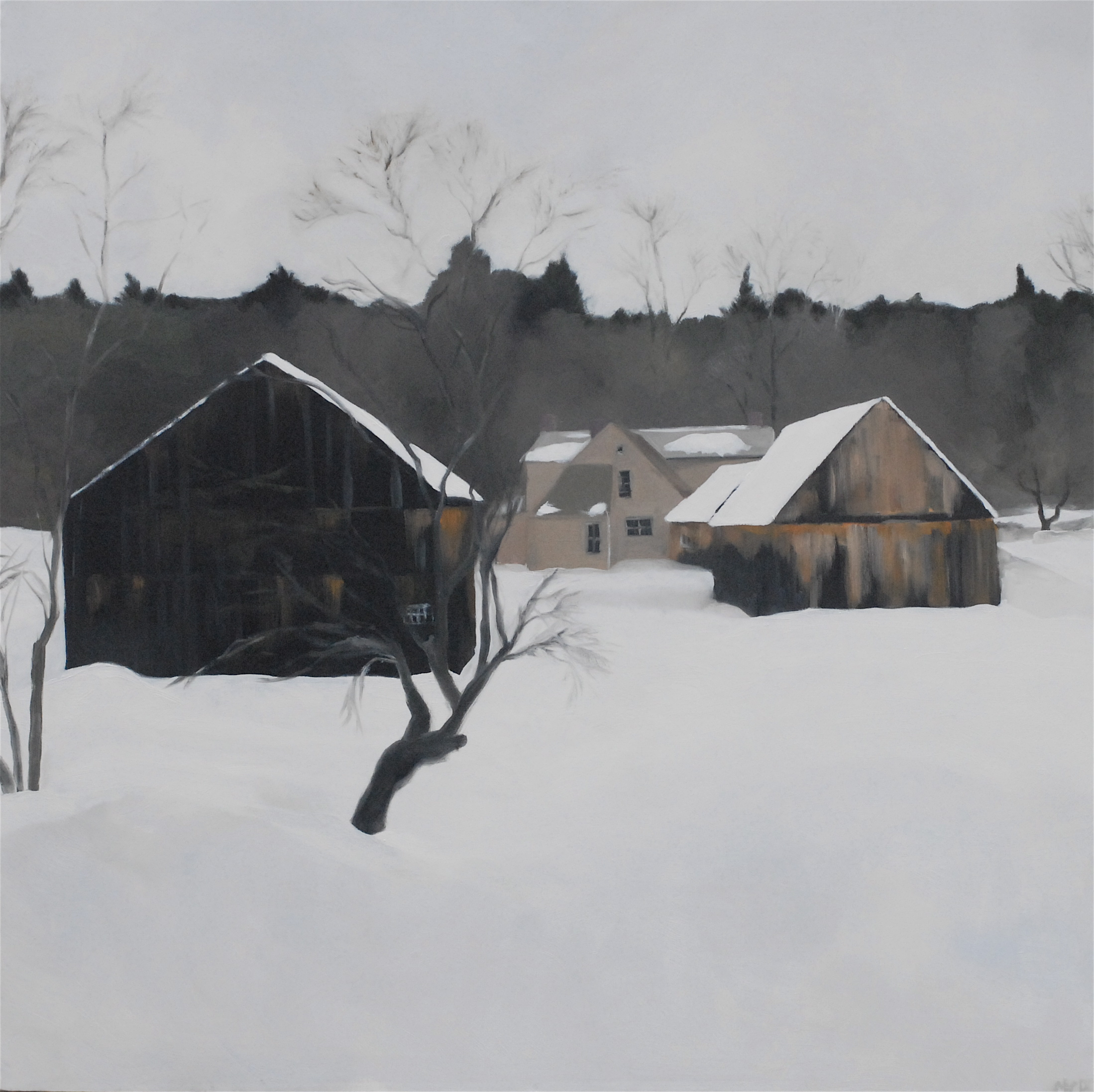 Winter barns. 36 x 36 inches, oil on canvas  (sold)