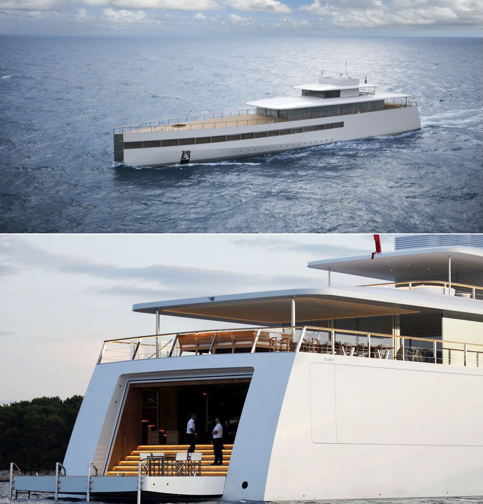 The Venus superyacht (yes, those are lighted steps going into the back of the ship)