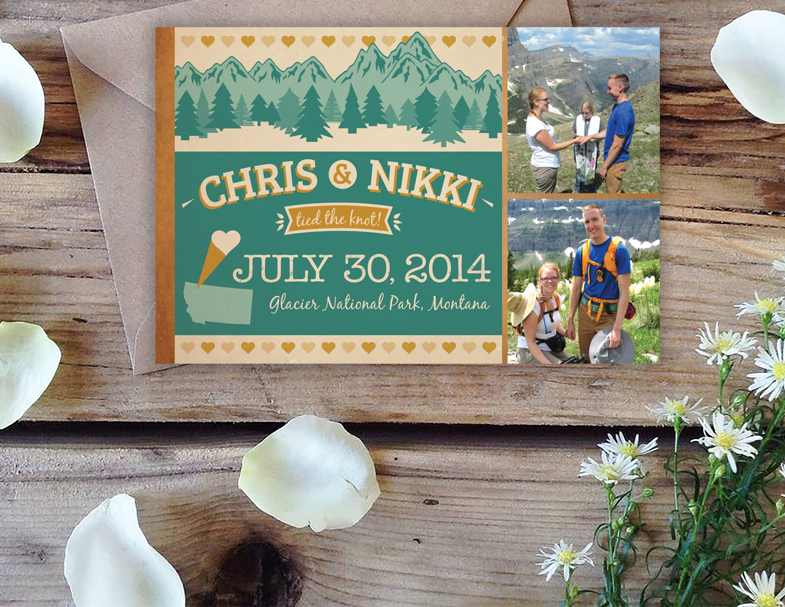 Nikki & Chris are adventurers.  They knew when they got engaged they wanted to have an intimate service atop Glacier National Park in Montana. This wedding announcement went out to all their family and friends after their nuptials.