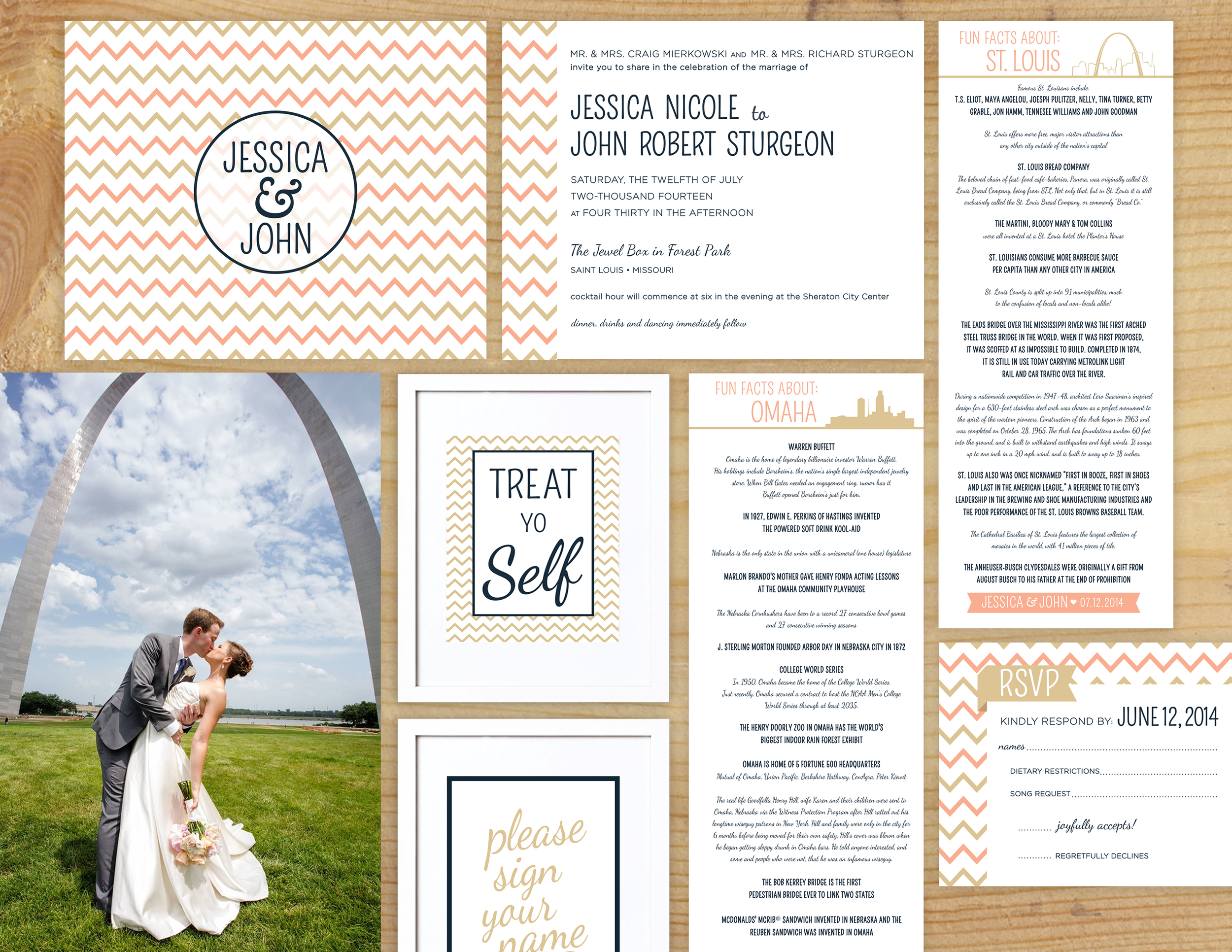 John & Jess are an absolutely beautiful couple inside and out.  One of my favorite things about them is their quirky relationship and their love for trivia. Part of their wedding collateral involved trivia cards for al the tables about Omaha, where the couple lives, and St. Louis, where Jess is from.