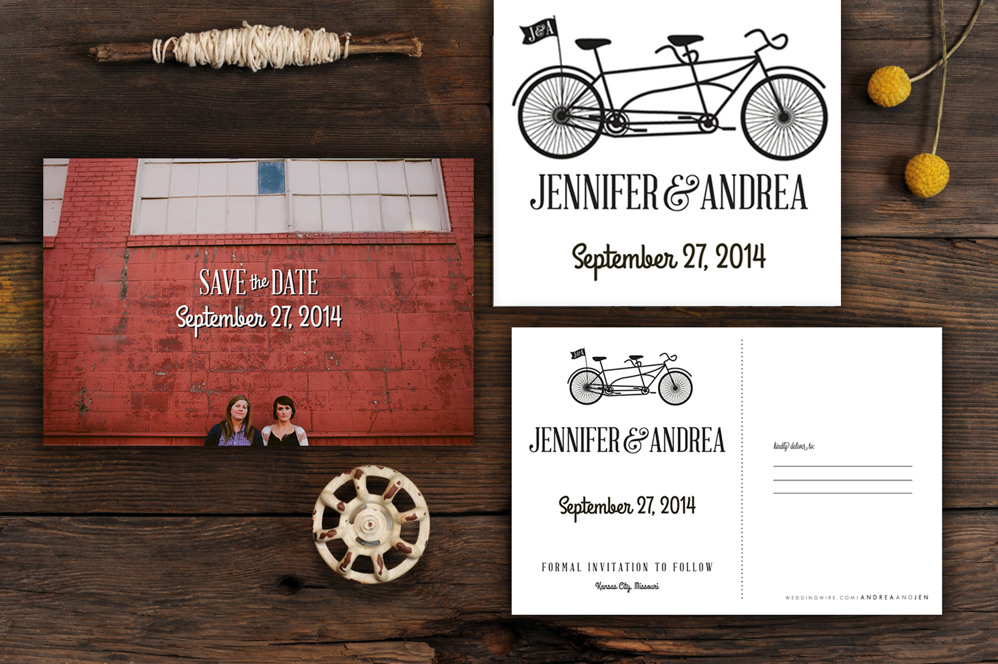Jen & Andrea are fun and full of life.  These two lovely ladies bring so much love and laughter to every one they meet. Their save the date is approachable, friendly and memorable: just like the two of them.