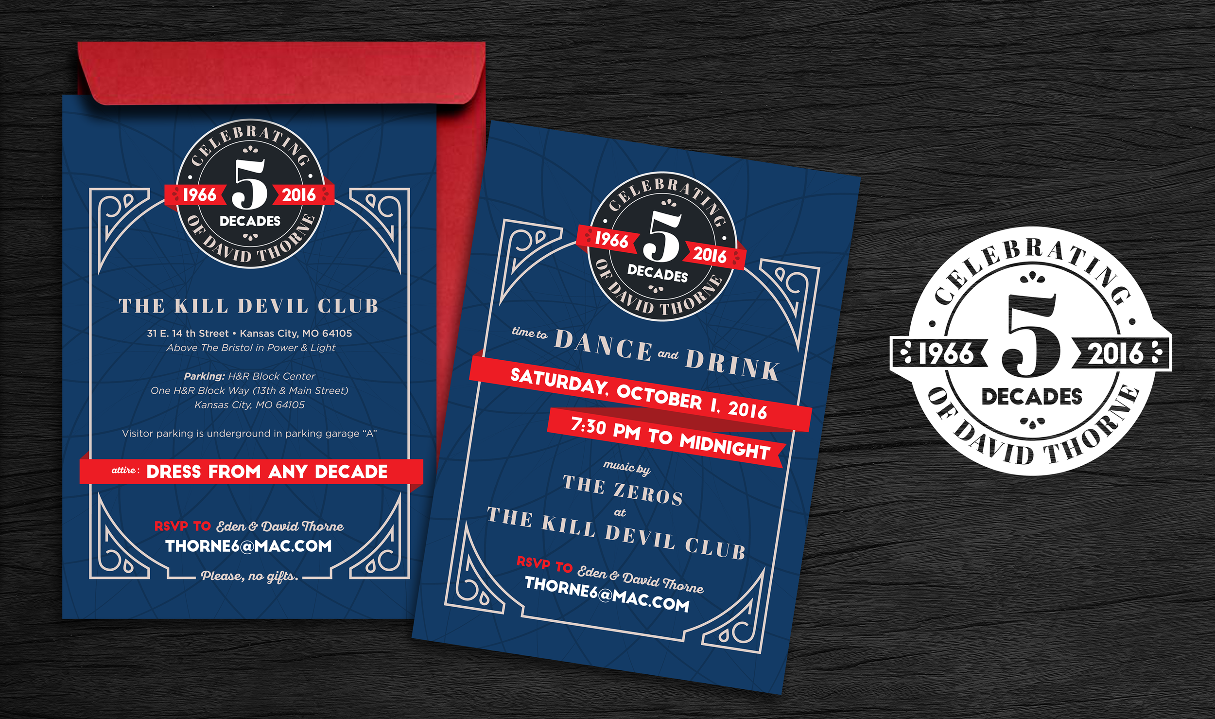 David is 50 years young. This invitation suite was super fun to work on. It was a costume party where the guests dressed from their favorite decades. The logo created for the party was printed on napkins and other collateral.