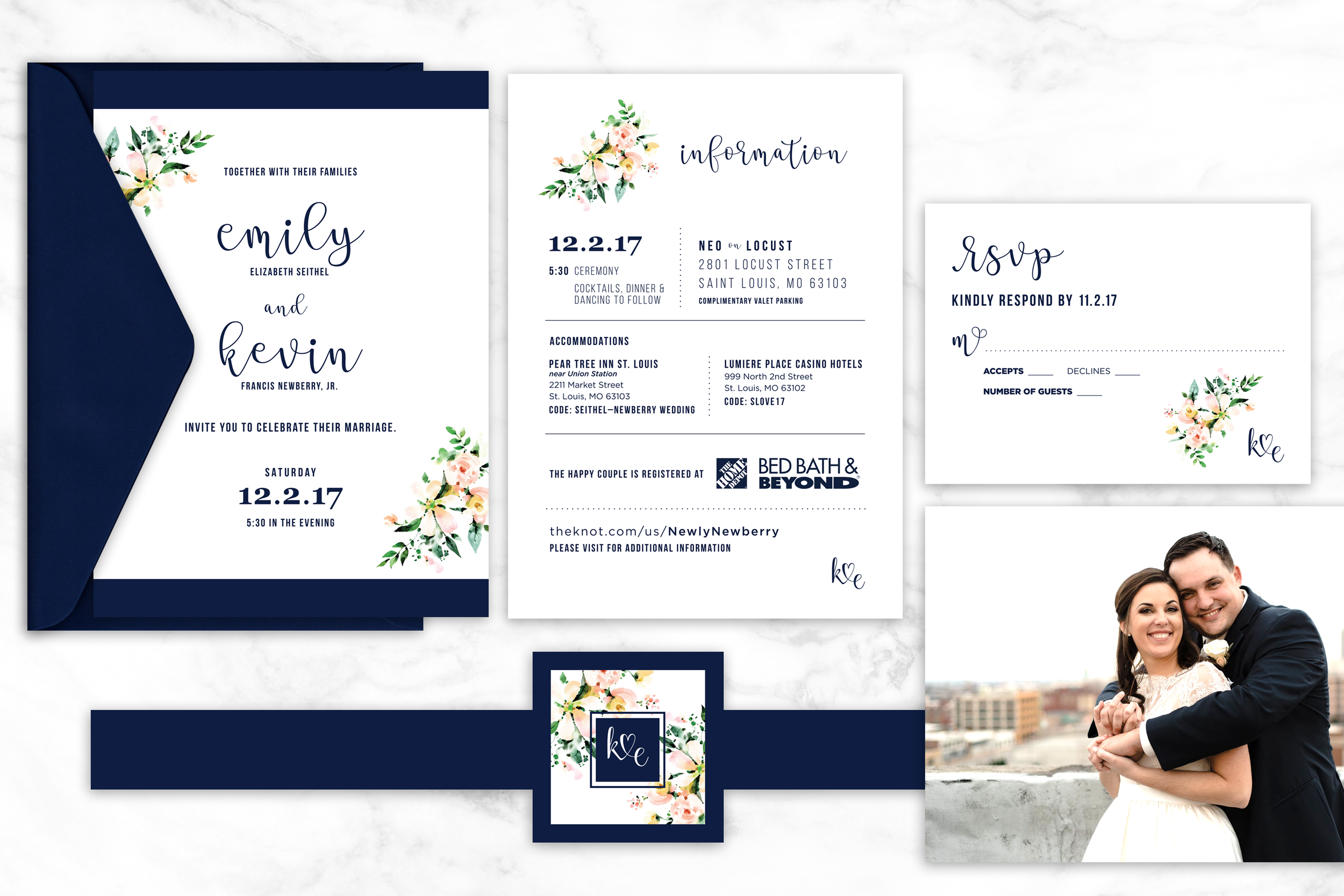 Emmy & Kevin are the sweetest. I had the pleasure of creating this simple and beautiful wedding suite for a very sweet and loving couple, Emmy & Kev. The watercolor floral detail with the stark navy made for an elegant combination – just like this couple!