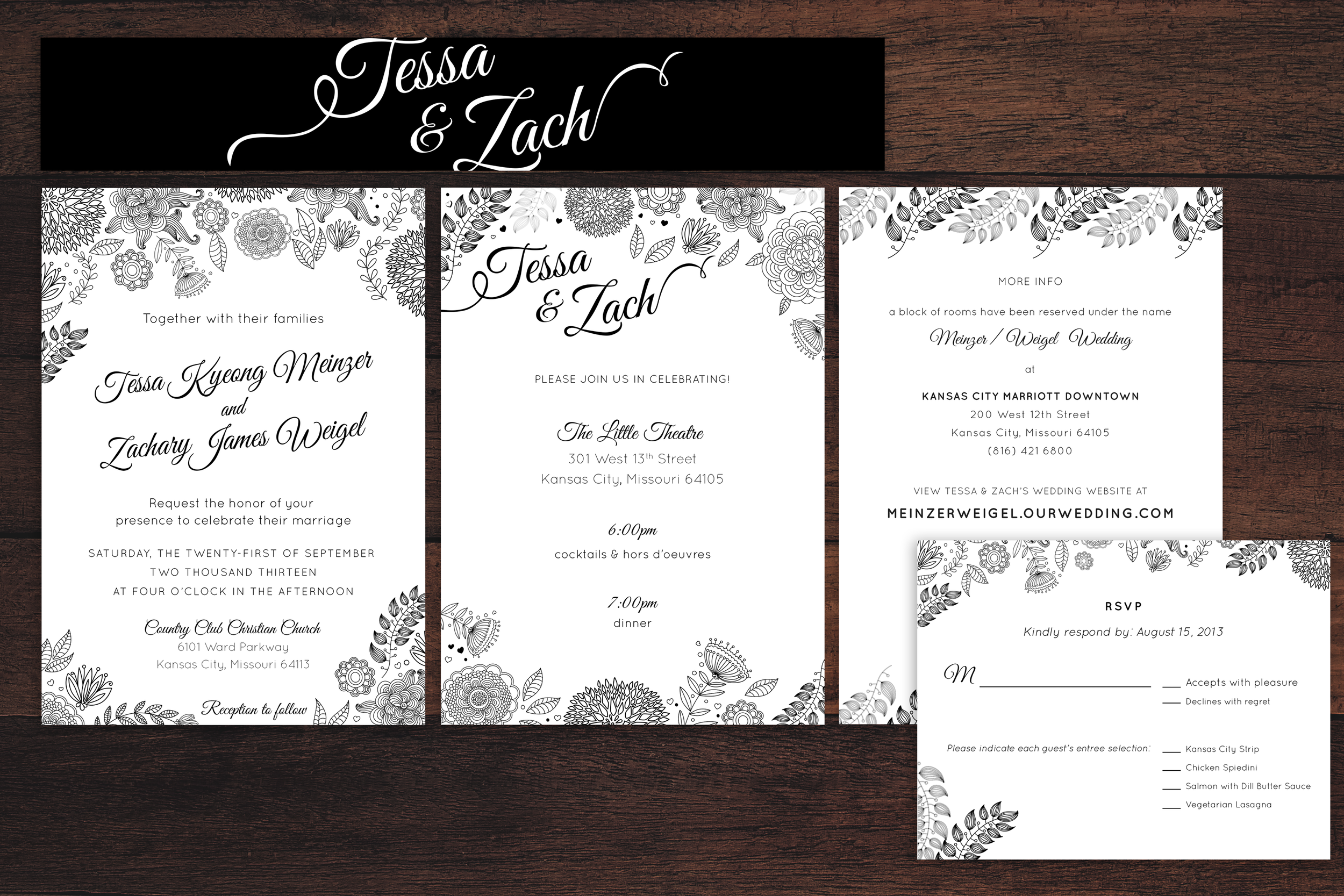 Zach & Tessa enjoy the finer things in life. Black and white is timeless and so is Zach & Tessa's delicate line drawing invitation suite.