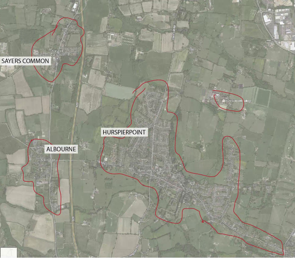 Map showing delivery area for Hurst Life magazine in Hurstpierpoint, Albourne and Sayers Common