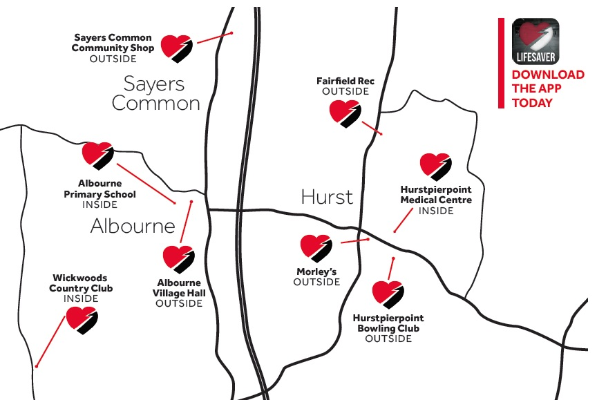 Public defibs in and around Hurstpierpoint