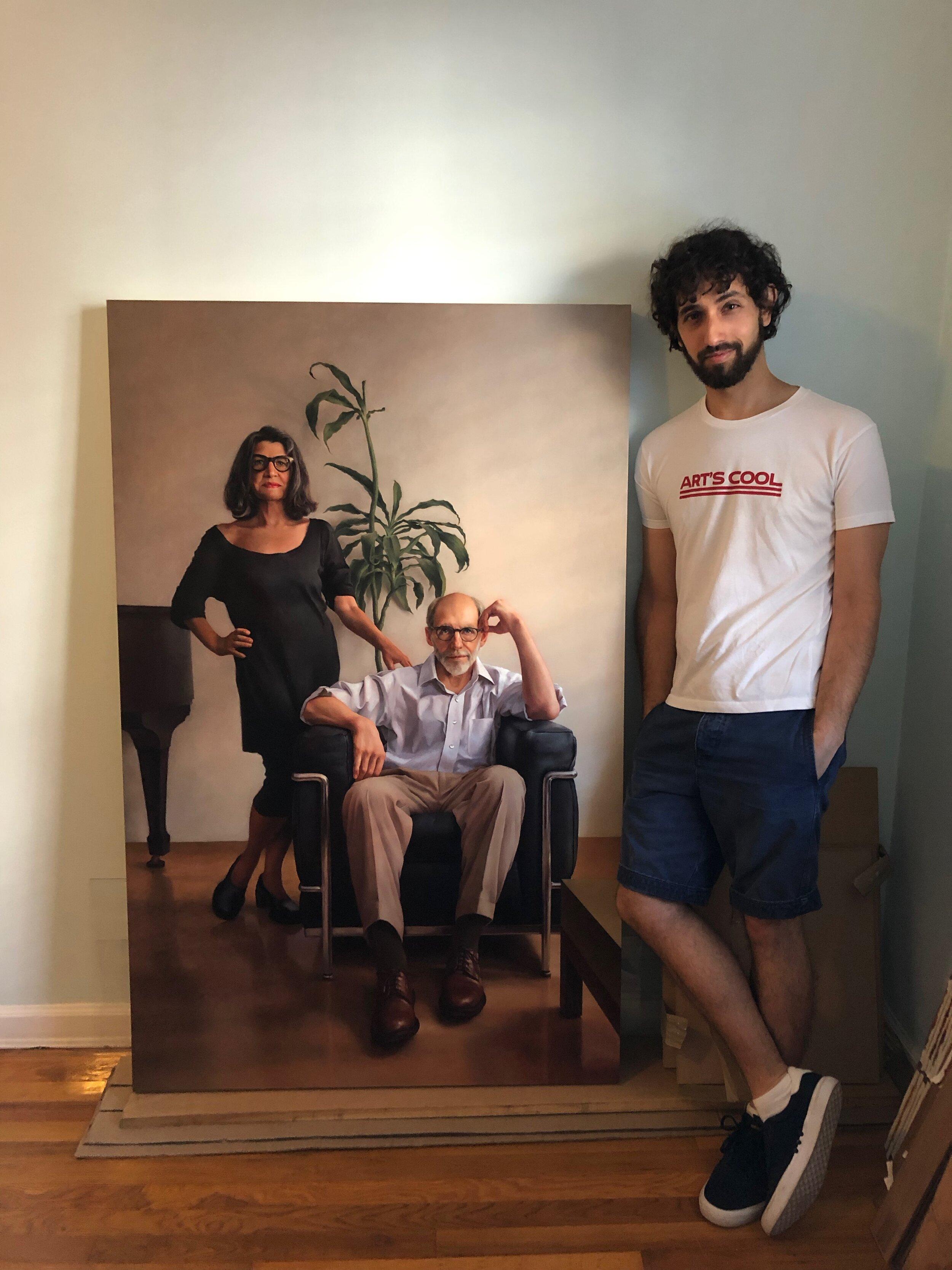Ken Goshen (חן גושן) in studio with a painting in progress