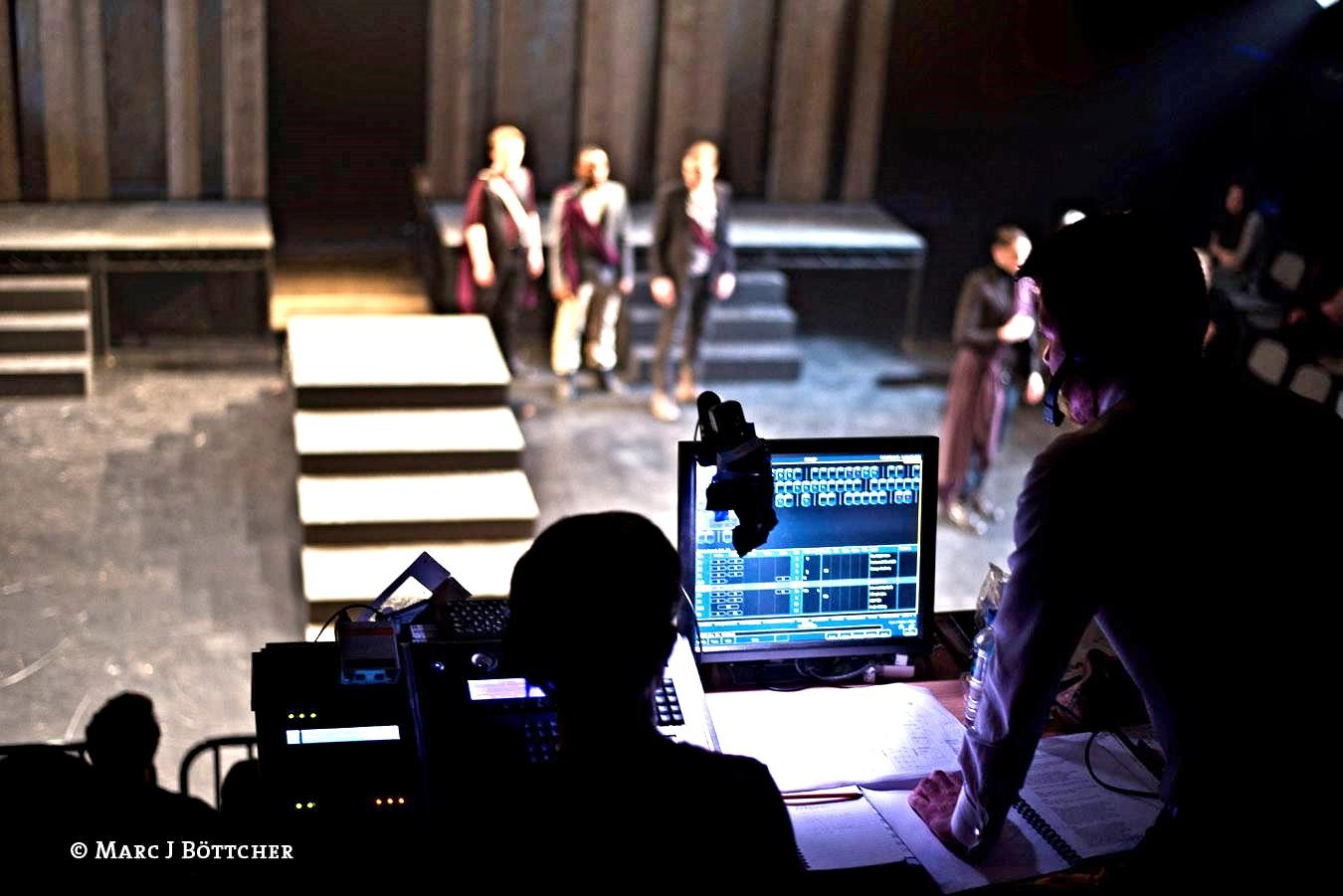 "In dress rehearsal for ""Julius Caesar"""