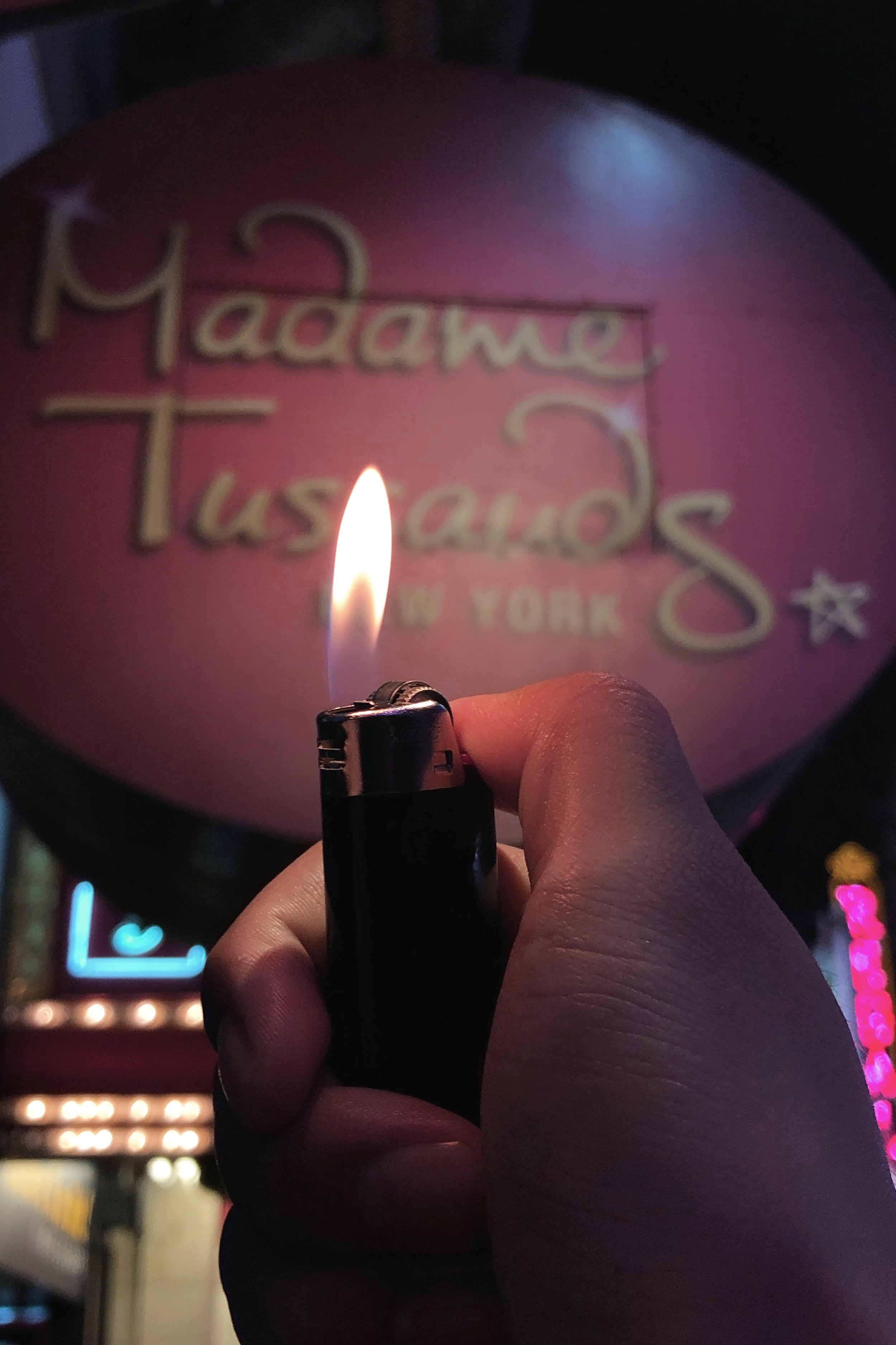 Lighted a lighter at Madame Tussauds   Size Variable, 2019