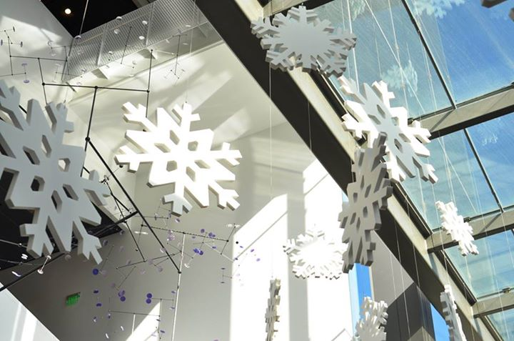 Snowflakes in the lobby of the Perot Museum
