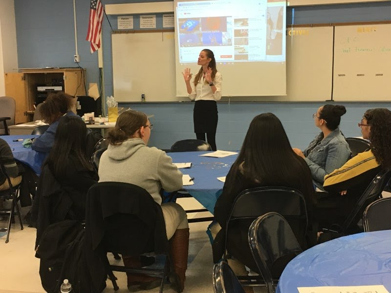 IIG New England Region Program Director Erin White leading a financial literacy workshop at Lawrence High School.