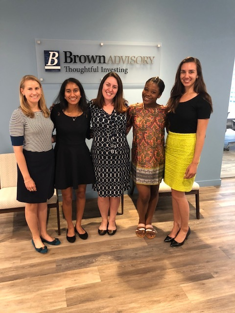 Brown Advisory Fellows from the Invest In Girls Boston Region after their final presentation at the Brown Advisory Boston offices with Brown Advisory staff.