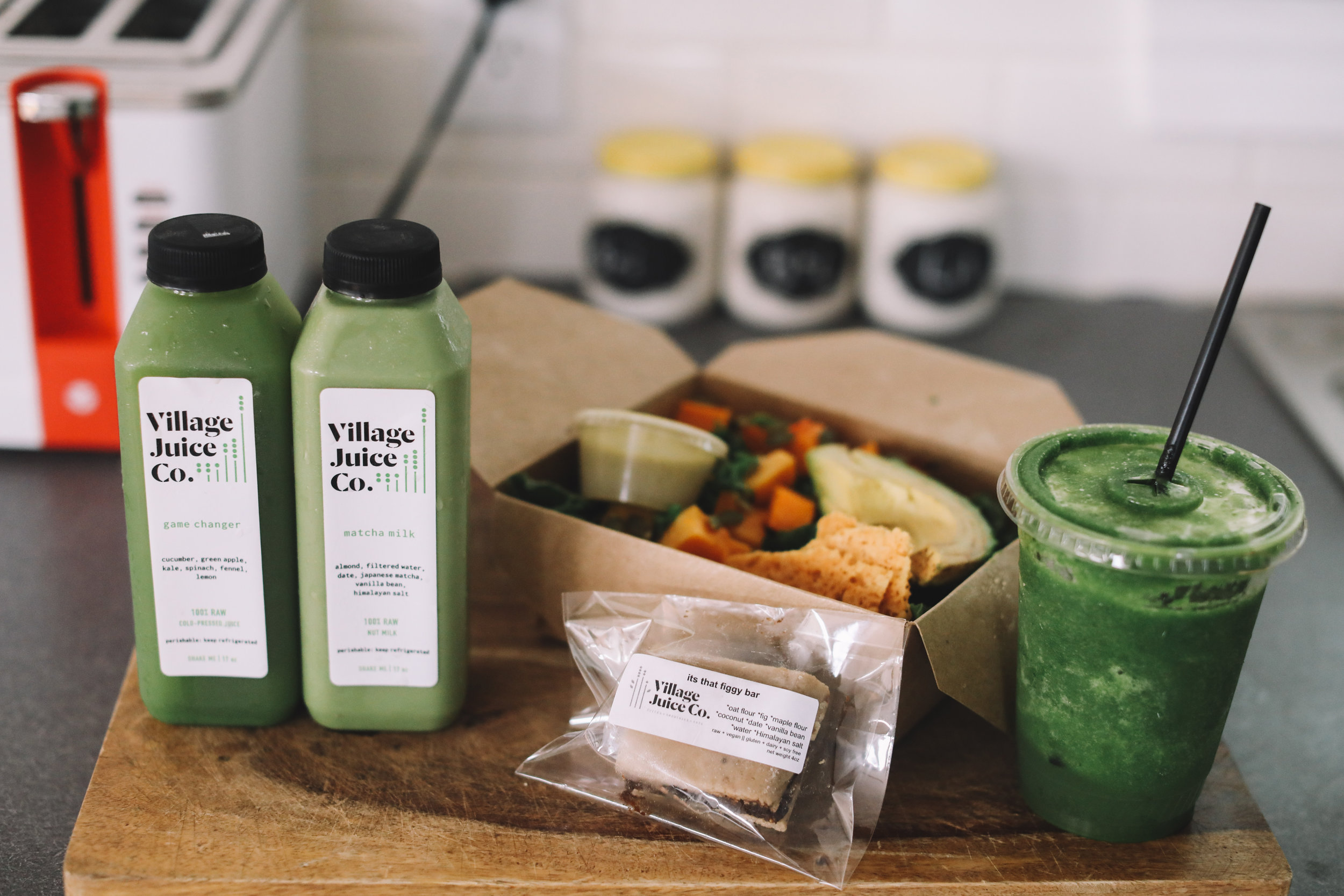 Pictured: One-Day Mini Cleanse ~ 2 juices + 1 smoothie + 1 snack bar + salad or grain bowl. This is a great way to pre-cleanse before a juice cleanse and is also just a great way to jumpstart a healthy lifestyle.