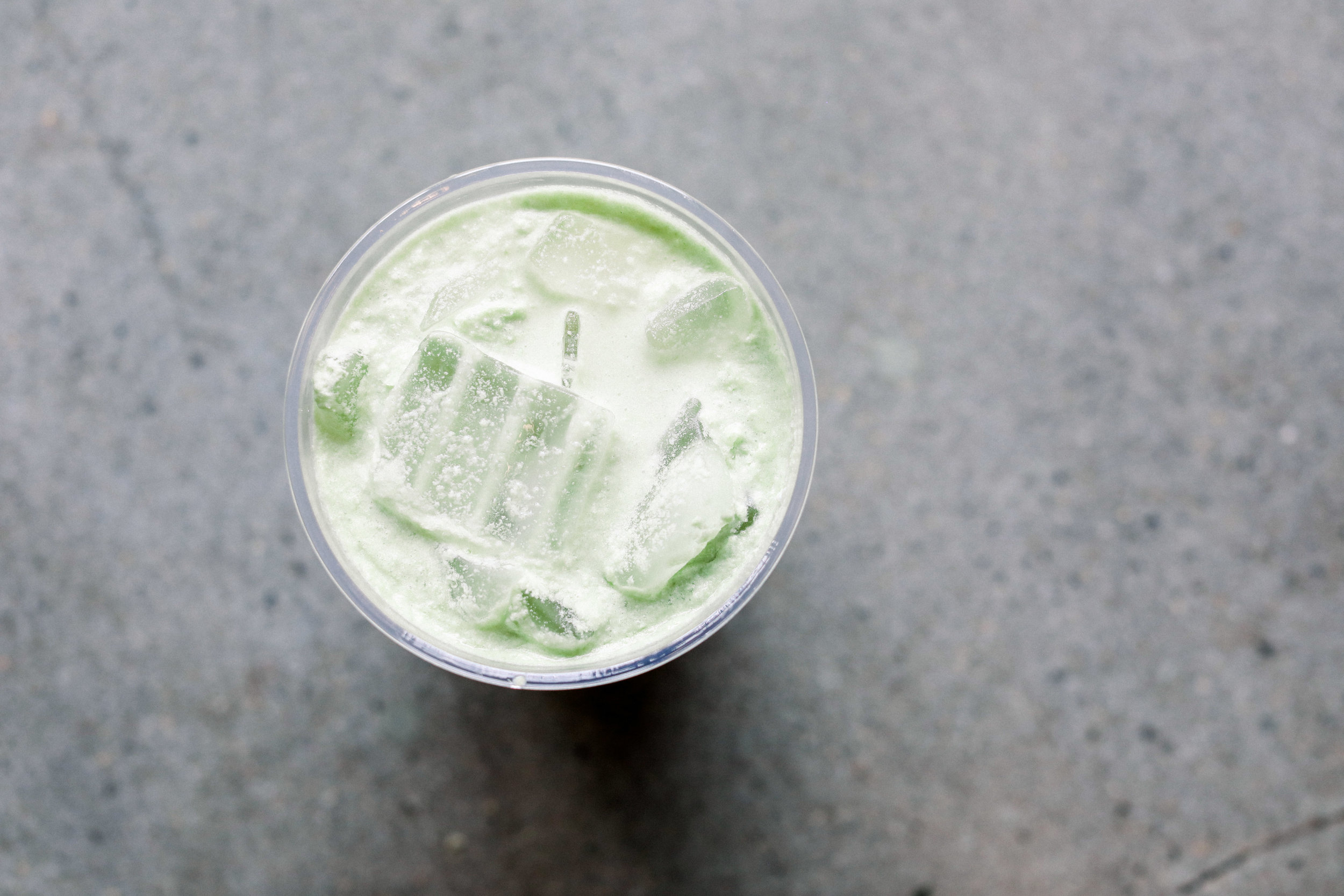 Iced Matcha Latte * house made plant-based milk, organic Japanese matcha, MCT oil, coconut butter + agave.