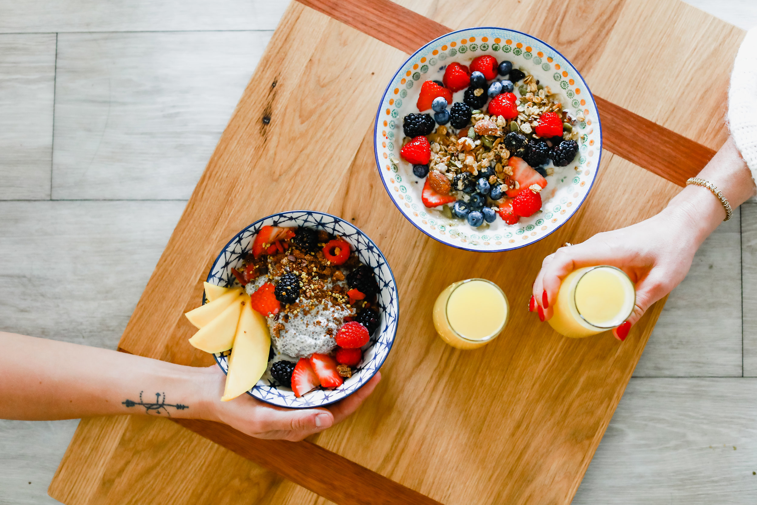 The  Granola Girl  bowl and the   Sunrise Chia Parfait     ready for brunch!   Photo: Lindley Battle Photography