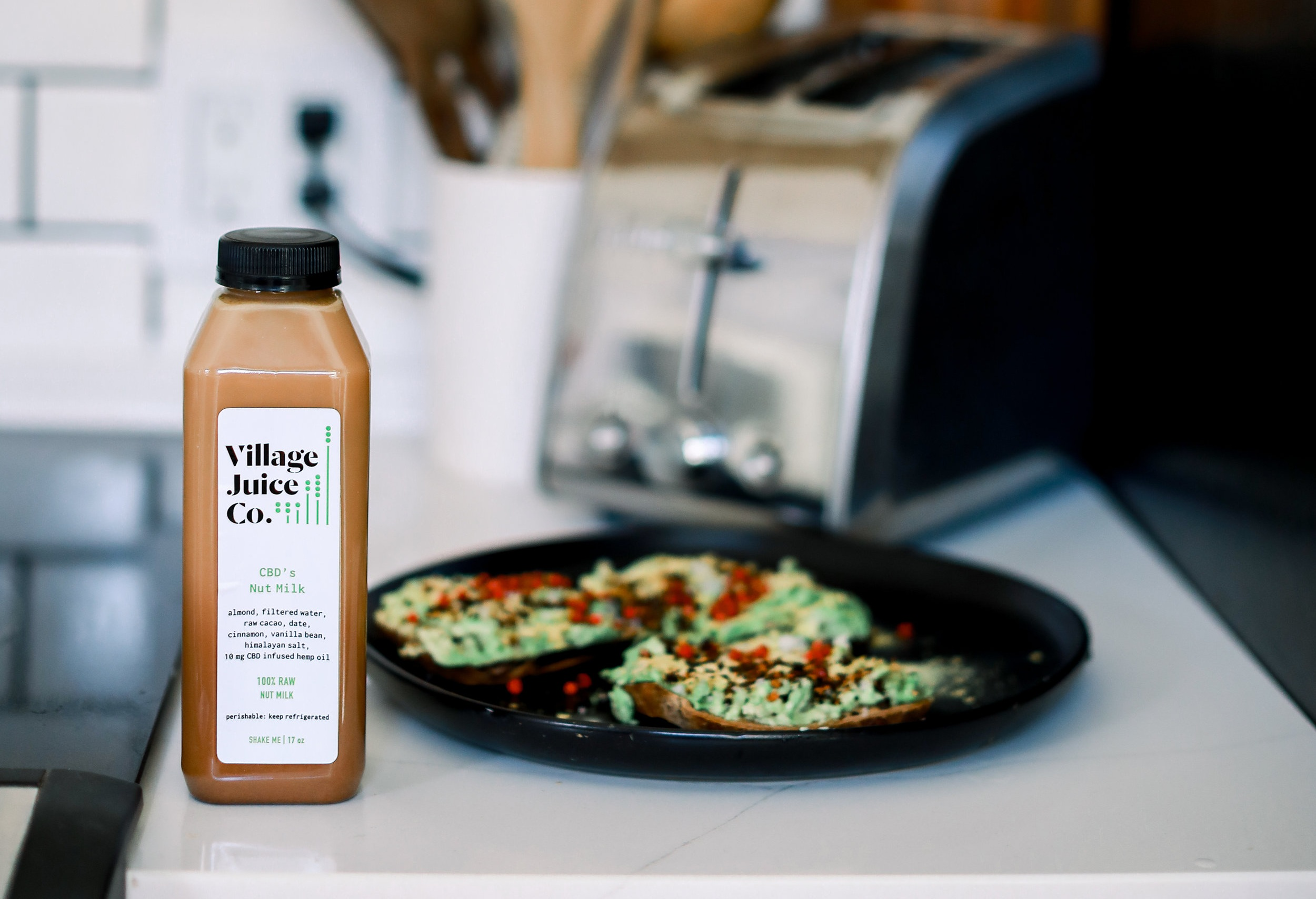 Some  CBD Nut Milk  and avocado toast - name a better duo 😏   Photo: Lindley Battle Photography
