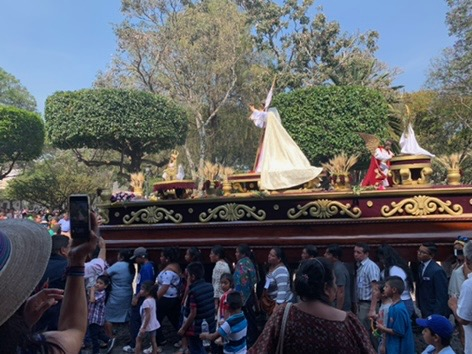 Some of the parade floats for the rise of Christ