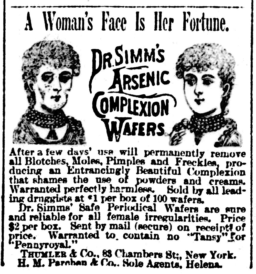 18891109_Arsenic_complexion_wafers_-_Helena_Independent, The Helena Independent (newspaper) [Public domain], https://commons.wikimedia.org/wiki/File:18891109_Arsenic_complexion_wafers_-_Helena_Independent.png