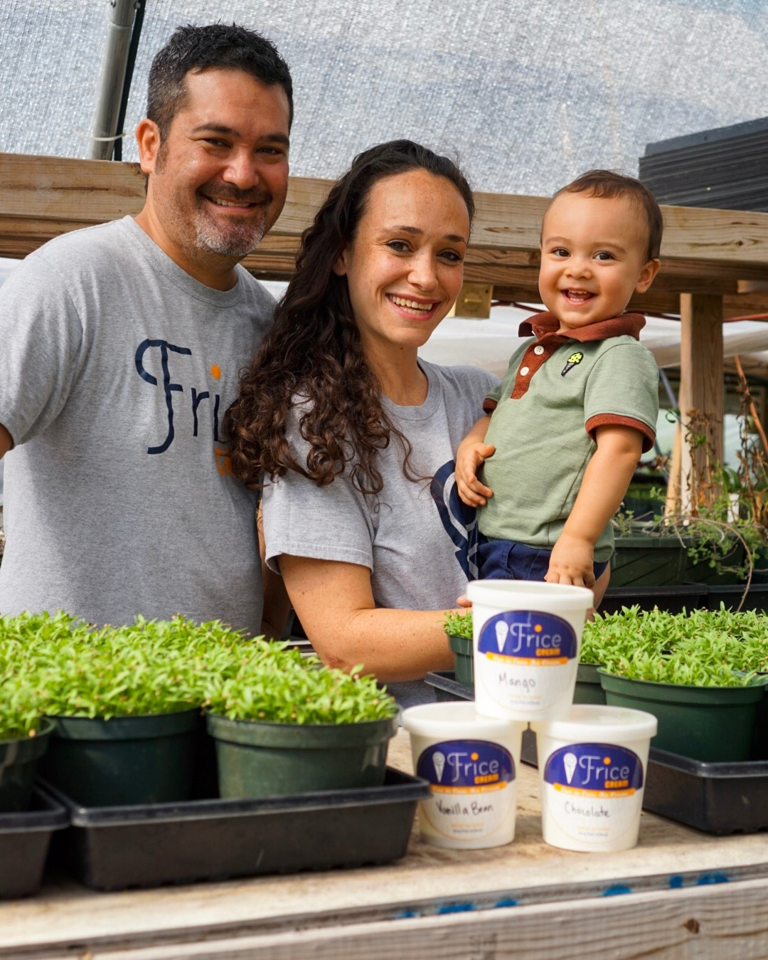 Jeremy, Alissa & Jaxon Frice hanging out at Harpke Family Farm where they source some ingredients