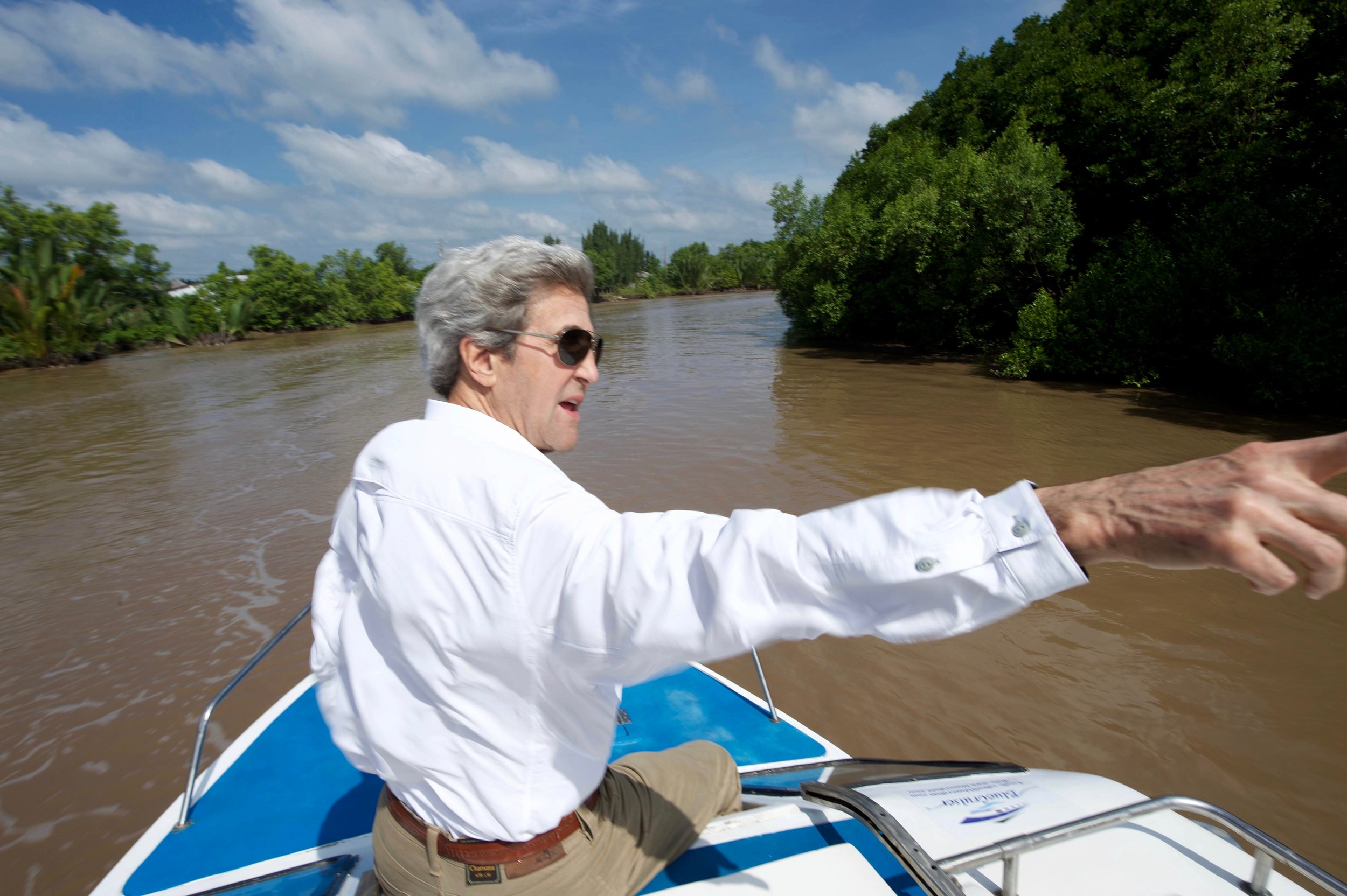 Secretary Kerry finds the spot where he beached his Swift Boat and killed a Viet Cong soldier in an episode later derided during the 2004 presidential campaign.
