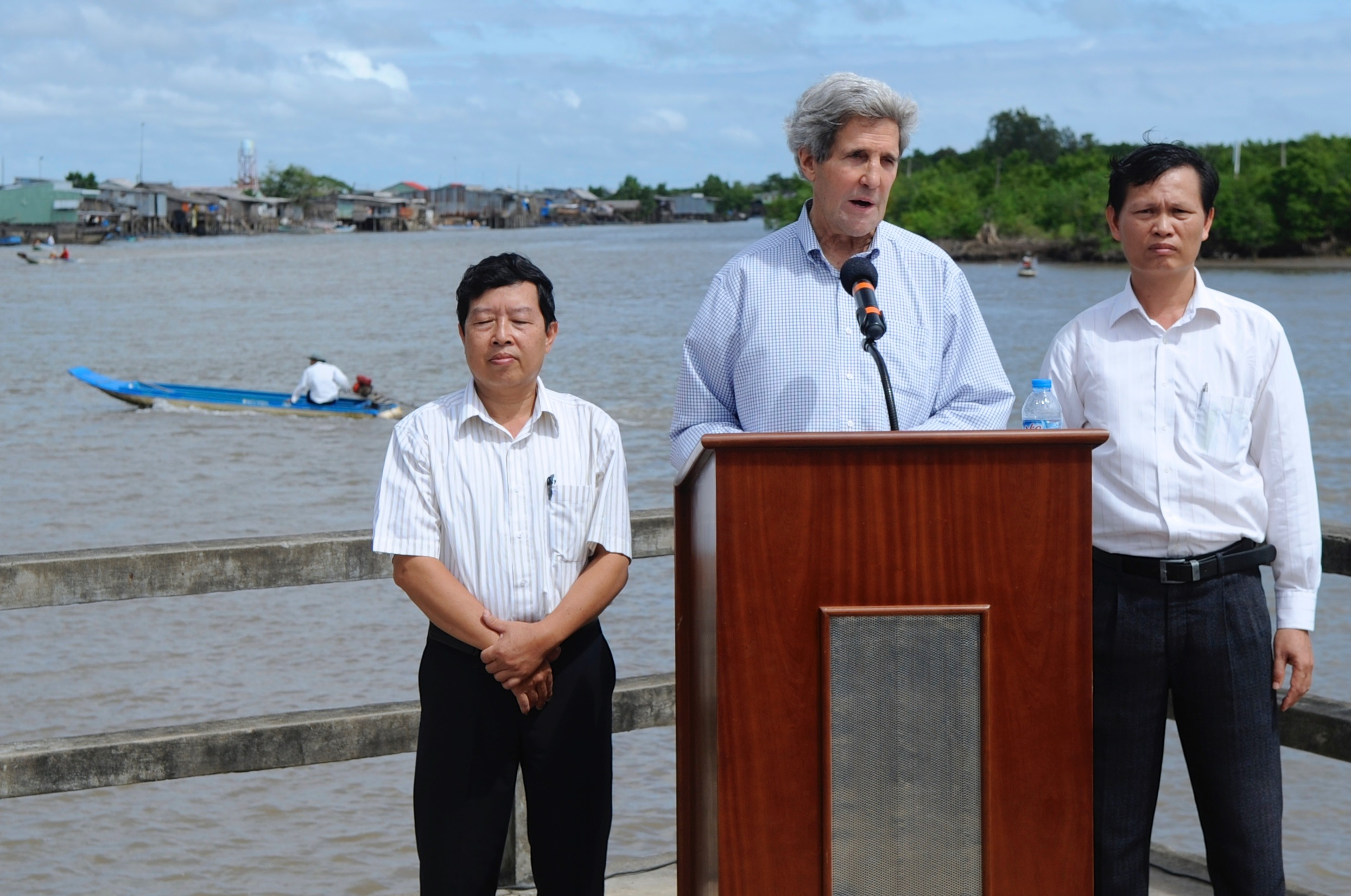 Secretary Kerry delivers an environmental speech amid our first trip up the Mekong River Delta.