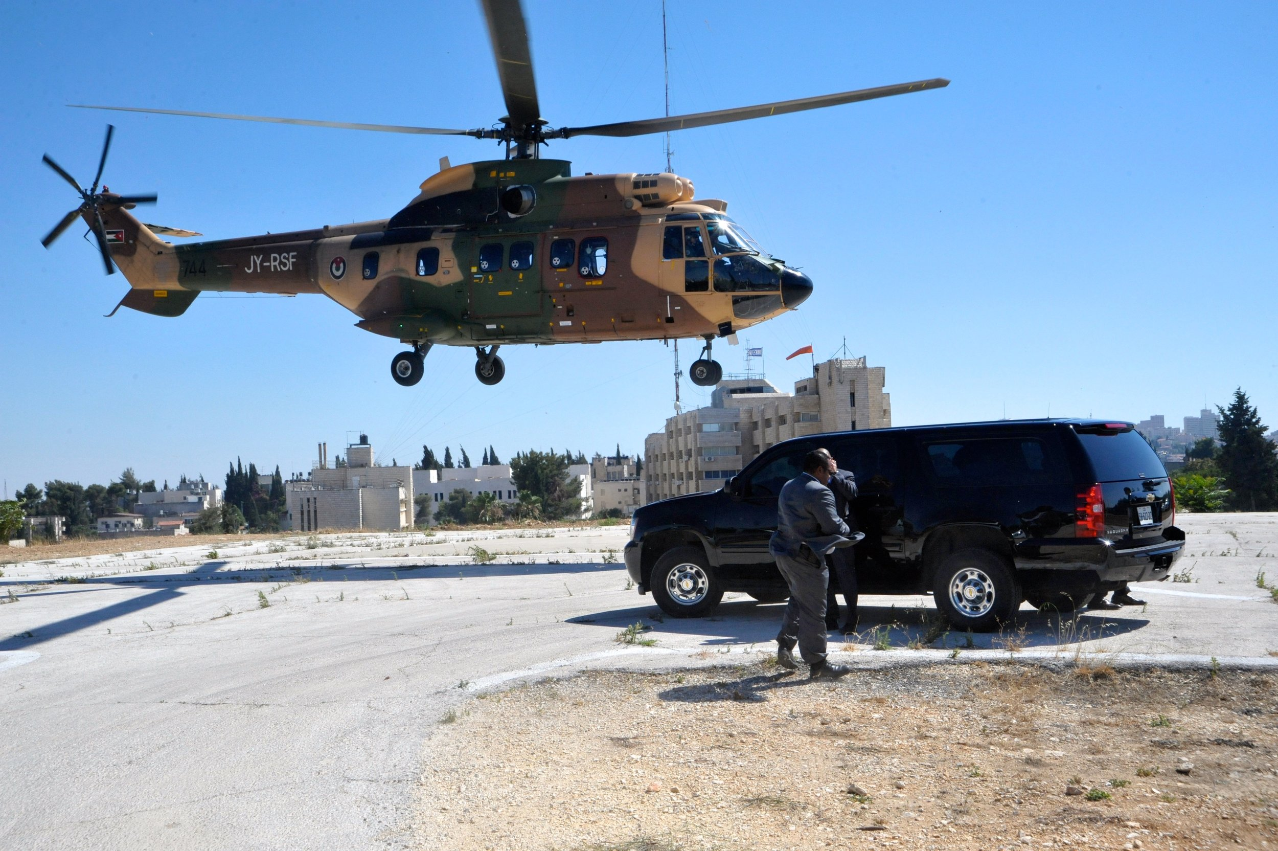 A Jordanian helicopter used to facilitate travel between Amman and Jerusalem and the West Bank.