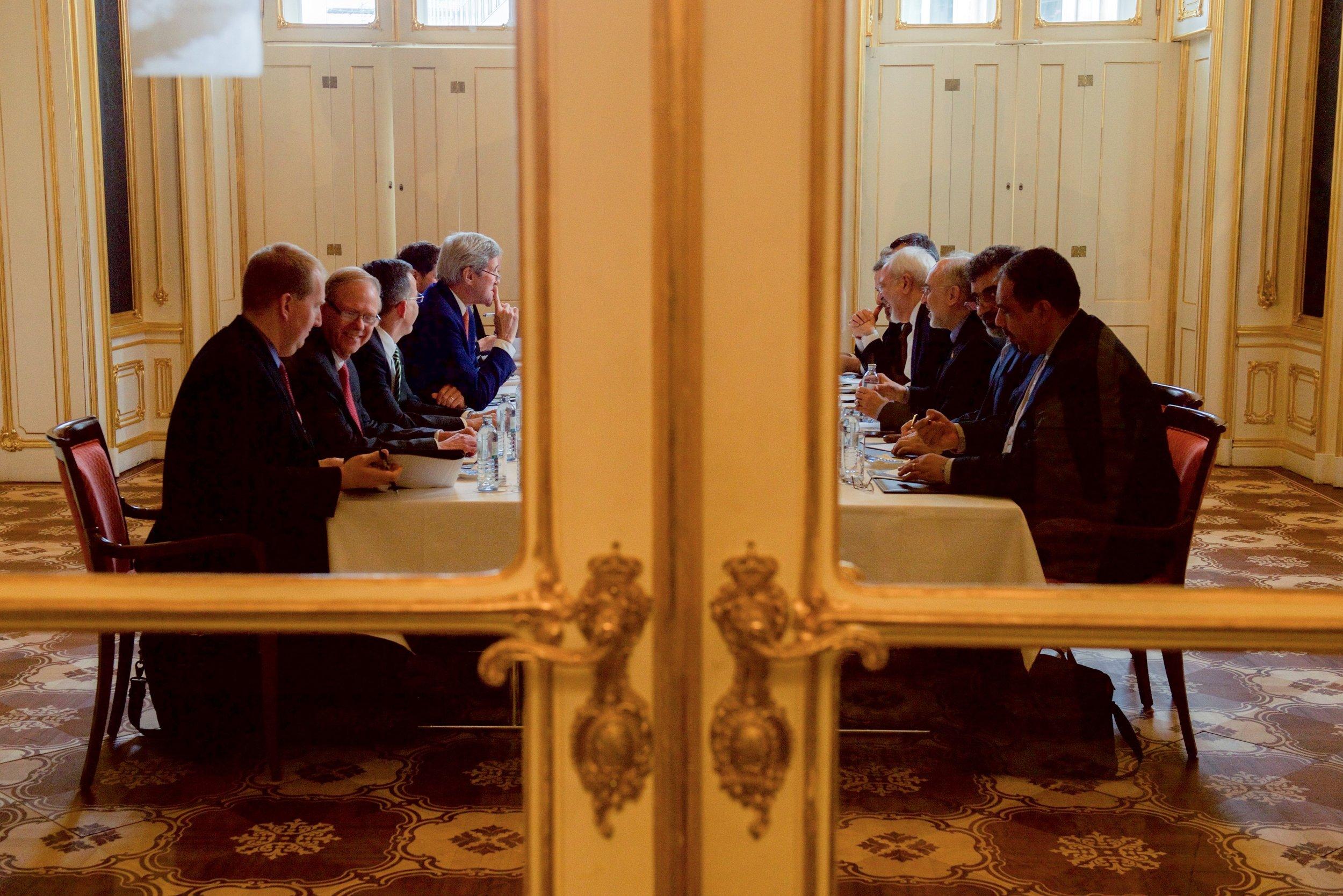 A group session during the Iran nuclear talk marathon in Vienna, Austria.