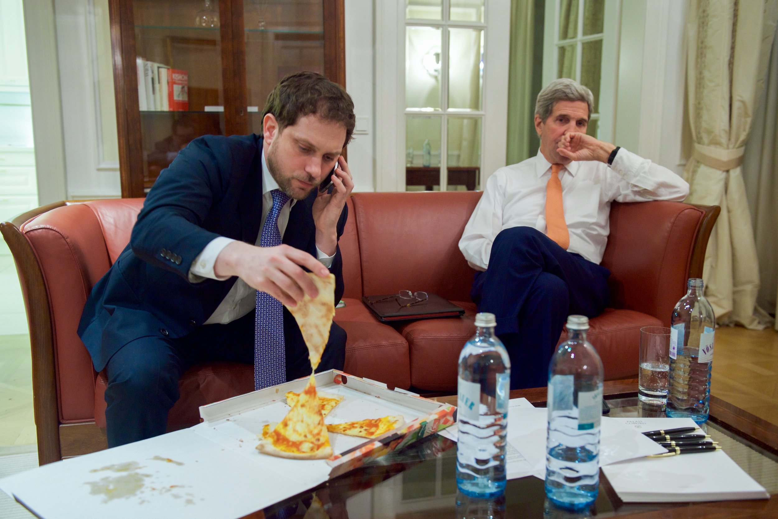 State Department Chief of Staff Jon Finer trying to get some nourishment during a long negotiating session.