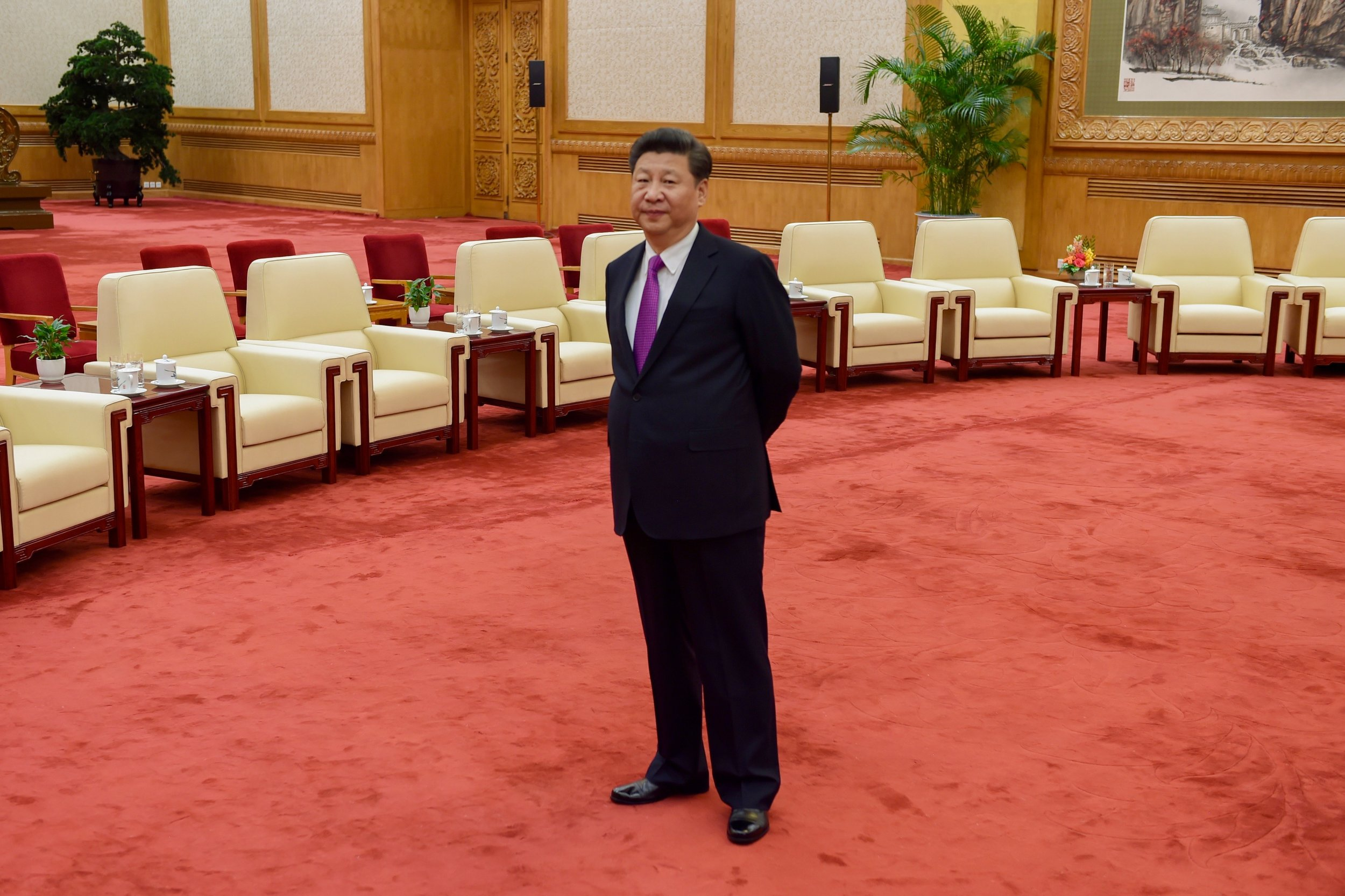 President Xi, leader of one-quarter of the world's population, awaits the arrival of our delegation.
