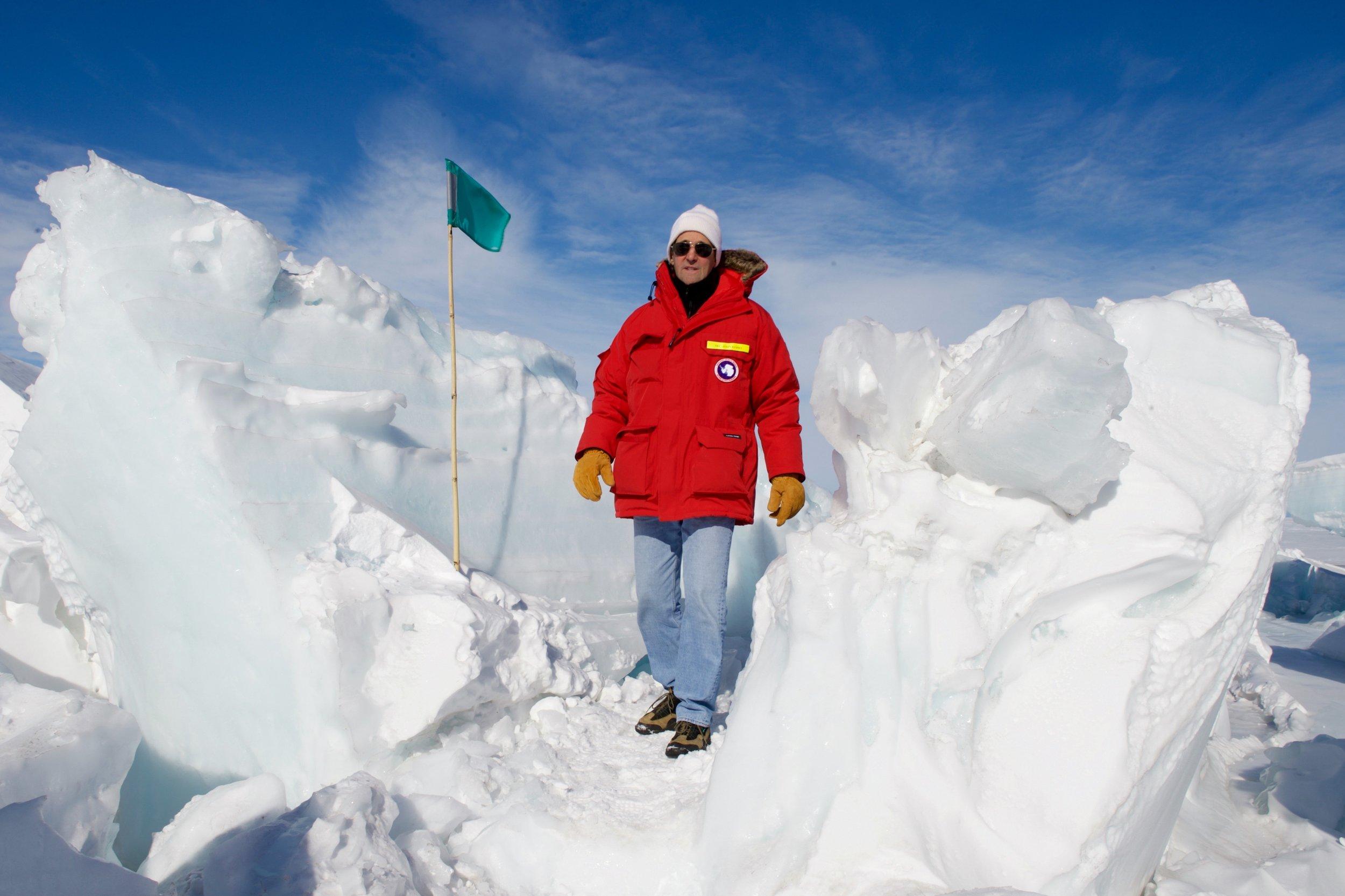 Secretary Kerry traversing a snow field near Scott Base after viewing seals in Antarctica.