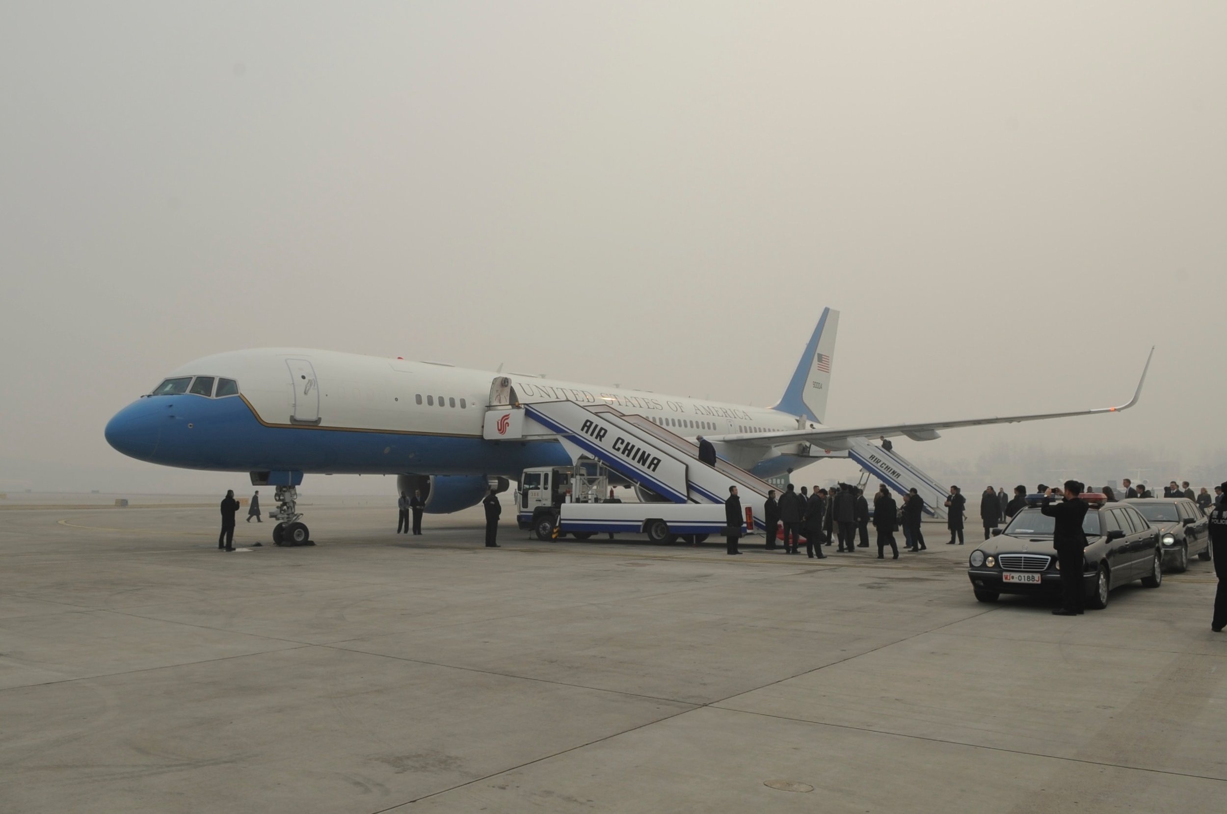 Our plane shrouded in smog in Beijing at high noon during a day that was crystal clear several thousand feet above the airport.