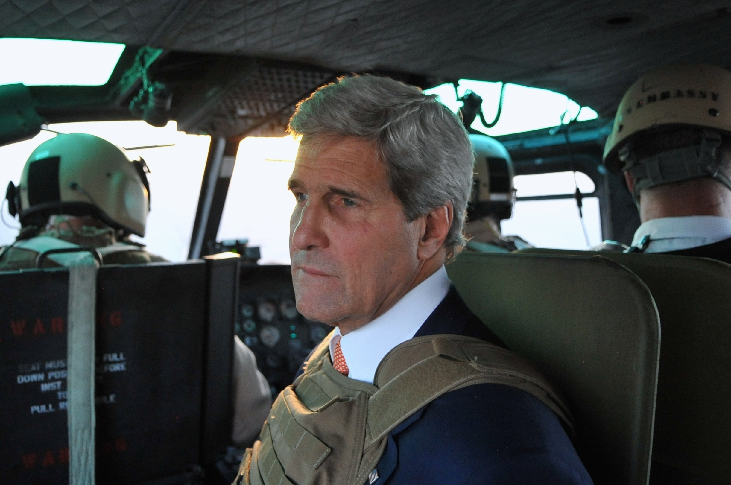 A mesh helicopter seat for a helicopter flight into Baghdad.