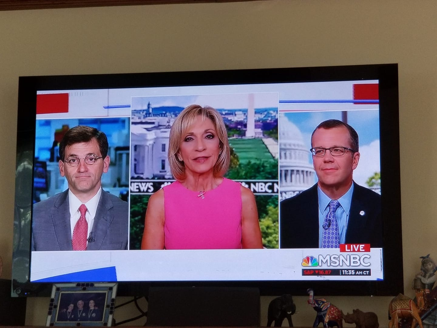 """Sharing a screen with Peter Baker of The New York Times during an appearance on """"Andrea Mitchell Reports"""" in Washington."""