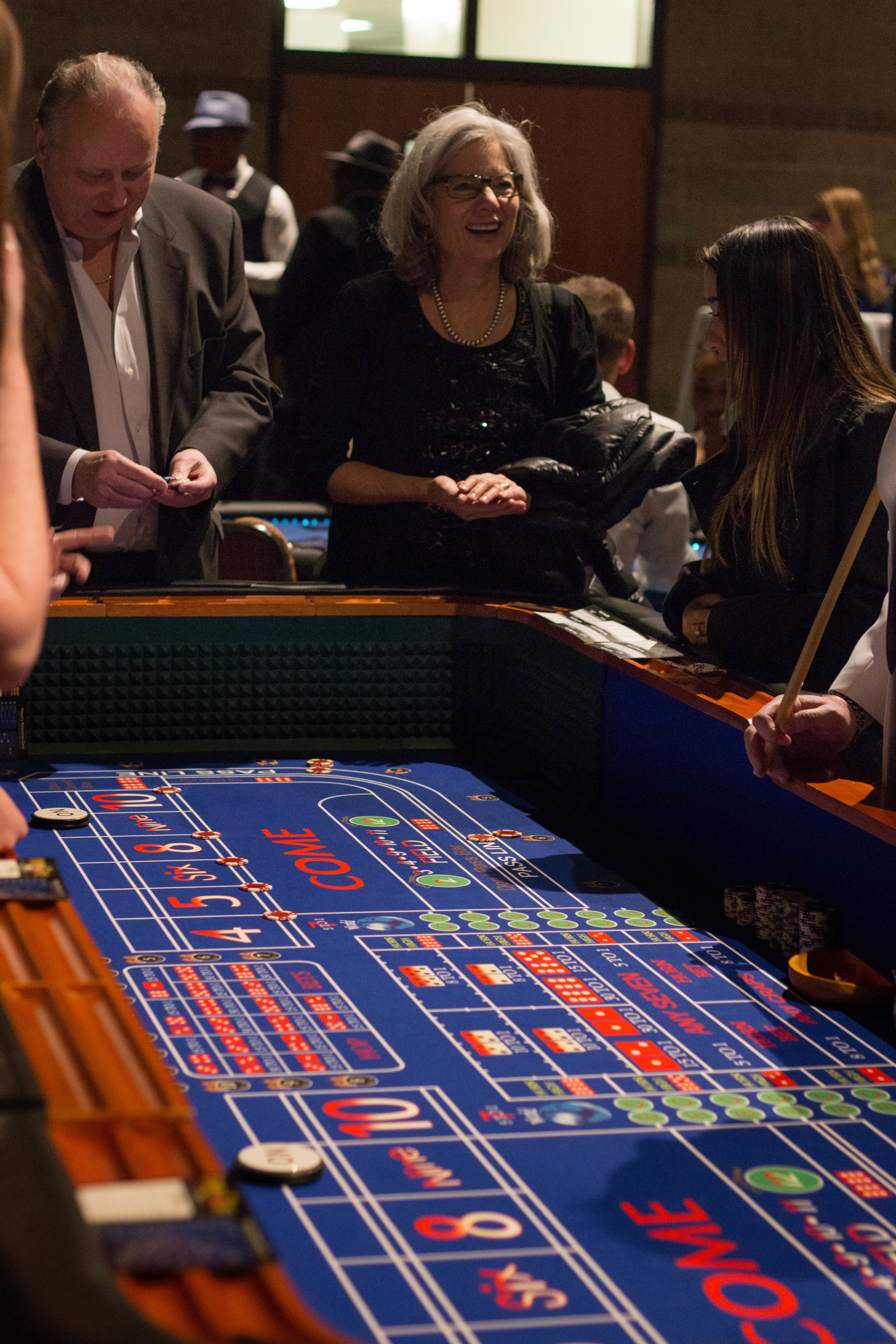 Full sized blue craps table