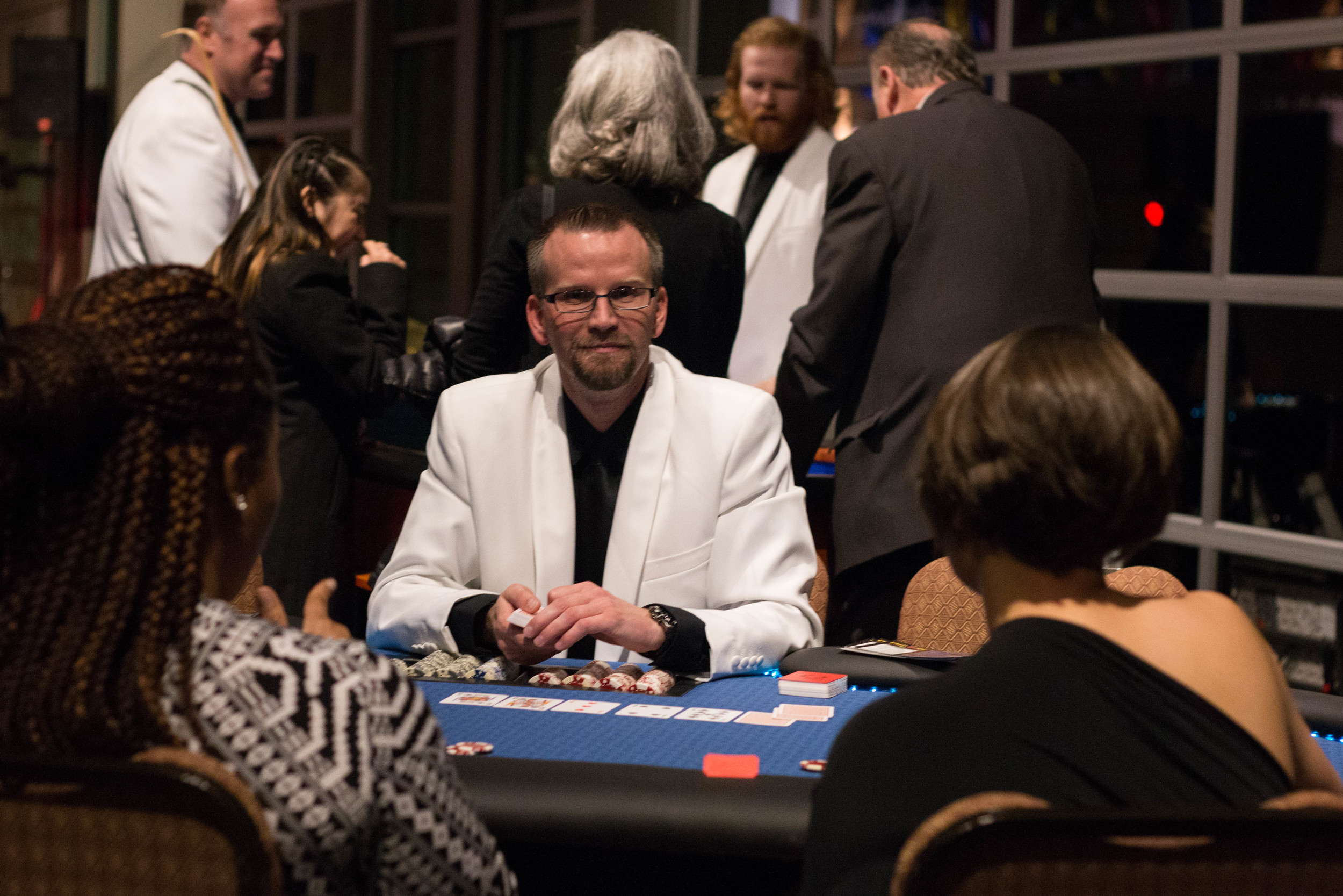 Travis, one of our poker dealers is dealing Texas Holdem for a fundraiser
